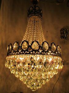Antique Vnt French Gigantic Crystal Chandelier Lamp Light 1940's 18in Ø diamter,