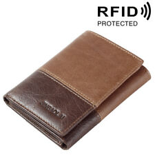 Men's Wallets Genuine Cow Leather Pocket RFID Protection Trifold Wallet for Men