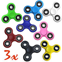 (3) Tri Plastic Spinner Fidget Hand Finger Spinner Fun Toy 8 Colors High Quality