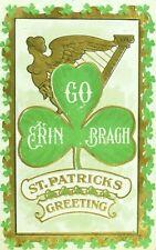 C.1910 St. Patrick's Day Postcard Irish Allegiance Erin Go Bragh Harp F31