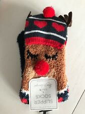 Ladies New Rudolph Reindeer Cute Cosy Socks Christmas Stocking Filler Gift