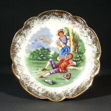 Vintage French Limoges Miniature Porcelain Plate, Courting Scene, Stamped