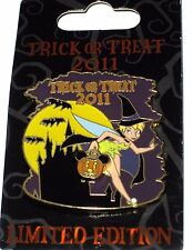 LE Disney Pin✿Tinker Bell Tink Trick or Treat Halloween Witch Costume Bats Moon