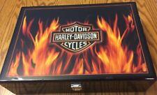 HARLEY-DAVIDSON Texas Hold 'em Flamed Flames Case, 200 Chips & Cards POKER SET