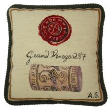 "12"" x 12"" Handmade Wool Needlepoint Petit Point Wine Cork and Seal Pillow"