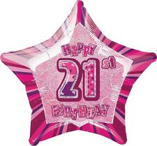 "20"" Happy 21st Birthday Party Pink Sparkle Star Foil Balloon"