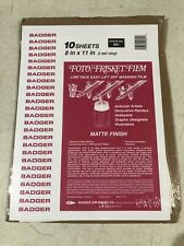 "Badger Airbrush 601 Foto Frisket Film 10 Matte Finish Sheets 8"" X 11"" 2ml New"