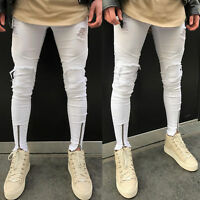 Men's Ripped White Jeans Skinny Distressed Slim Fit Frayed Denim Pants Trousers