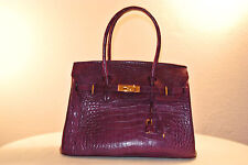 Genuine Crocodile Leather Handbag - Purple Color