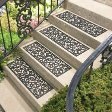 Set of 4 Black Scroll Butterfly Heavy Duty Rubber Porch Patio Stair Treads
