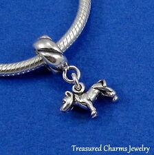 .925 Sterling Silver PIT BULL DOG Dangle Bead CHARM fits EUROPEAN Bracelet