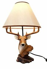 """Rustic 8 Point Buck Deer Bust Desktop 20""""H Table Lamp Statue Decor With Shade"""