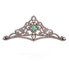Silver Wedding Emerald Polki Tiara Crown Vintage Antique Rose Cut Diamond 5.56ct