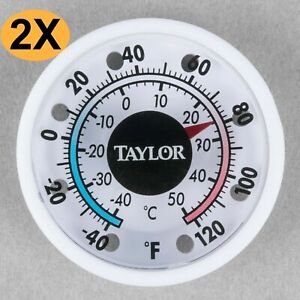 """2 PIECES- TAYLOR 5380 N 1 3/4"""" DIAL STICK ON THERMOMETER INDOOR OUTDOOR- NO RUST"""