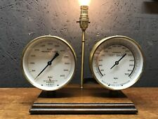 Repurposed Steampunk Lamp With 2 Vintage Brass Pressure Gauges - PAT Tested