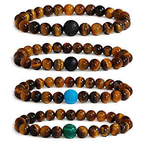 Yellow Tiger Eye Stone Beaded Bracelet Charm One Bead Natural Bangle Women Men