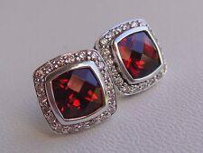 $1200 DAVID YURMAN,SS PETITE ALBION GARNET DIAMOND EARRINGS