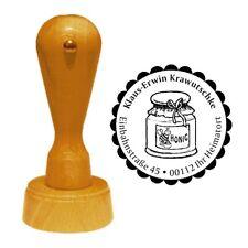 Stempel « HONIGGLAS » Adressenstempel Motiv Name Honig Imker Imkerei Bienen Glas