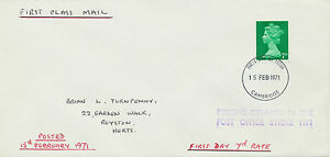 GB 1971 Machin Pre-Decimal 7 D on superb First Class Mail Letter - FDC