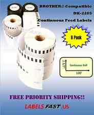 6 Rolls 62mm CONTINUOUS Compatible for Brother DK2205 Labels  for QL-700 QL-500