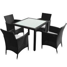 5-Piece Outdoor Patio Rattan Wicker Furniture Garden Dining Set w/ Cushion Black