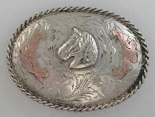 Jalisco Sterling Silver Relief Horse Head Quality Western Belt Buckle