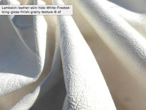 Lambskin sheep skin leather hide Pure White gloss finish grainy texture