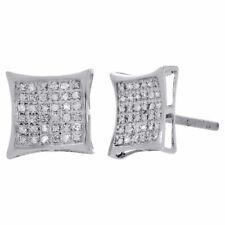 Donna .925 Argento Sterling Design Quadrato Aquilone Diamante Orecchini 0.25 KT