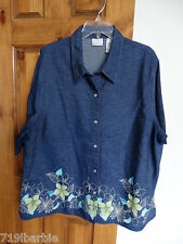 Villager Sport Woman short sleeve snap-front floral design shirt blouse size 3