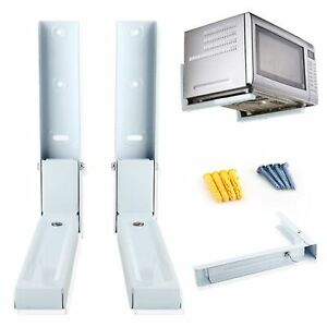 2 Universal White Microwave Wall Mounting Holder Brackets With Extendable Arms