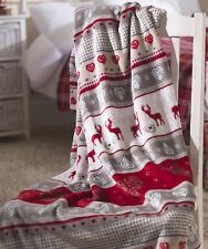 Red Stag Fleece Christmas Throw Warm Festive Winter Reindeer Blanket