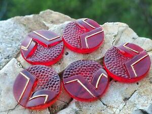 Vintage Mid Century Ruby Red Glass Cabochons Cabs Unique DIY Jewelry Making