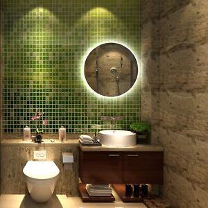 Round Wall Mirror 60cm Makeup Mirror De-Fogger Bathroom Vanity Black Decor love