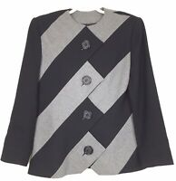 VTG 90s Blazer Jacket Gray Black Wool Avant Garde Mod Geometric David Hayes Sz 8
