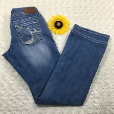 Maurices Womens Bootcut Jeans Size 1/2 Distressed Stretch Blue Denim gr1256