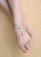 Ankle Bracelet Barefoot Sandal Foot Jewelry Boho Silver Turquoise Anklet Chain