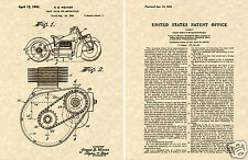 INDIAN MOTORCYCLE 1941 Patent Art Print READY TO FRAME!!!! Vintage Shaft Cycle