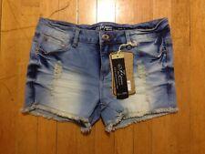 NWT Nina Rossi Jeans Distressed Acid Wash Cut Off Stretch Denim Booty Shorts 9