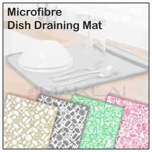 Microfibre DISH DRYING MAT for Sink Washing Up Drainer Pad Rack Glass Tea Towel