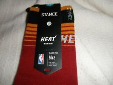 Stance NBA Miami Heat Red Crew Socks, Official Team Sock, Men's Size L