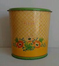 Vintage Handiware Kitchen Storage Tin Canister PaCa floral retro flour bin rare