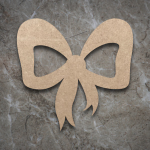Large MDF Present Bow Craft Wooden Shape Blank Wood 10 20 30 40cm Unpainted