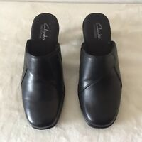 CLARKS Bendables Slip On Clogs Mules Heels Black Leather Women's Size 6 M