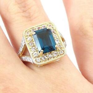 Vintage 10k Yellow Gold Blue Topaz Oval Cut Ring Size 6 12 Blue Gemstone Fine Jewelry