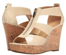 NIB Size 8 MICHAEL KORS Damita Platform Wedge Sandals Beige Ecru Patent Leather