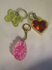 Ladies Girls Sparkle Heart Butterfly Pink Key Chain Lot