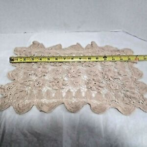 Vintage Hand Crochet Rosebud Rectangle Off White Placemat Doily