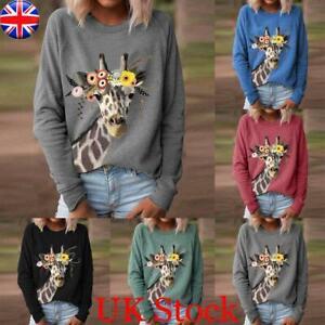 Women's Long Sleeve Giraffe Print Jumper T-shirt Ladies Loose Casual Blouse Tops