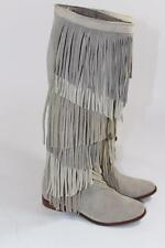 ZARA SUEDE LEATHER FRINGED KNEE HIGH BOOTS FLATS SIZE UK3 EUR36 US6 REF 7065/001