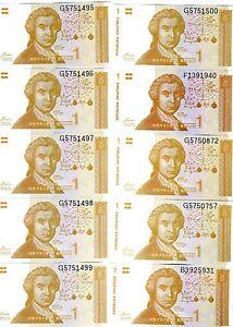LOT Croatia, 10 x 1 Dinara, 1991 P-16, UNC